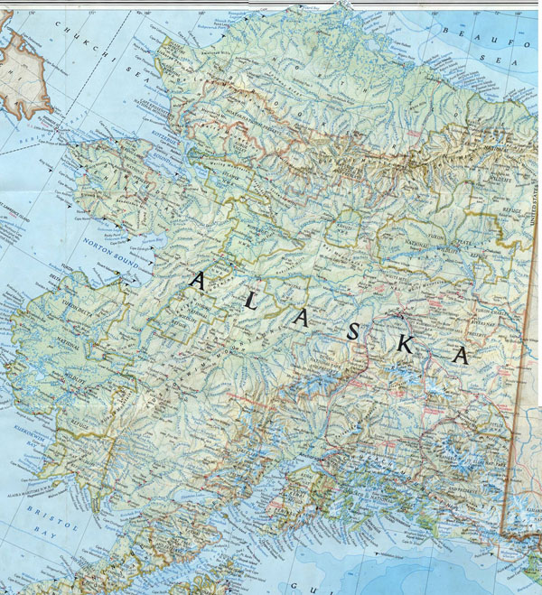 Large detailed topographical map of Alaska.