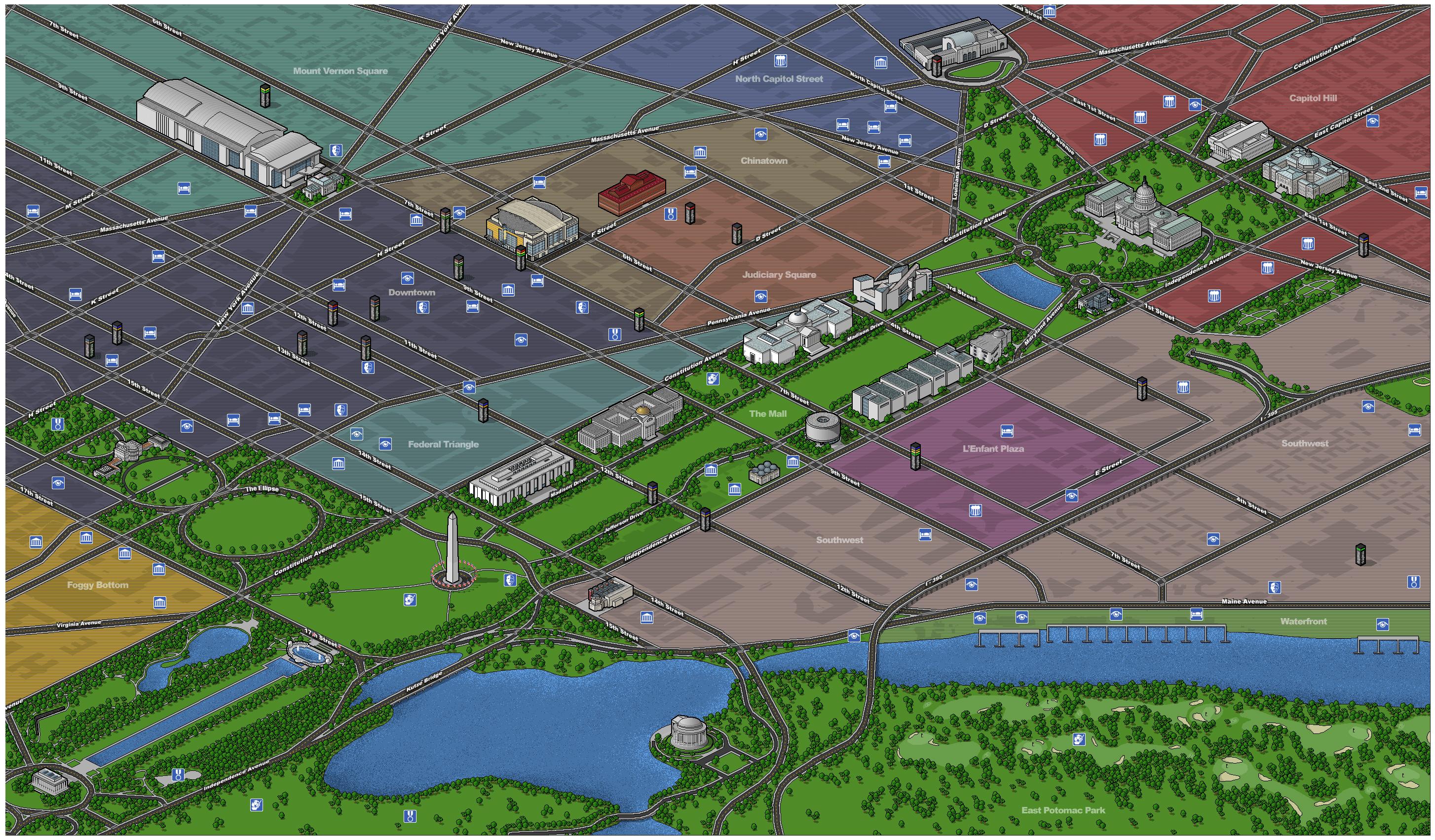 Large detailed tourist map of Washington D.C.. Washington D.C. large on