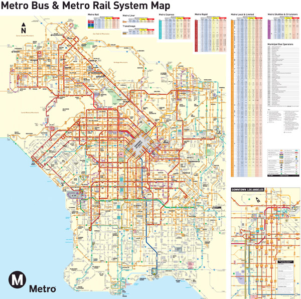 Large detailed transport map of Los Angeles city.