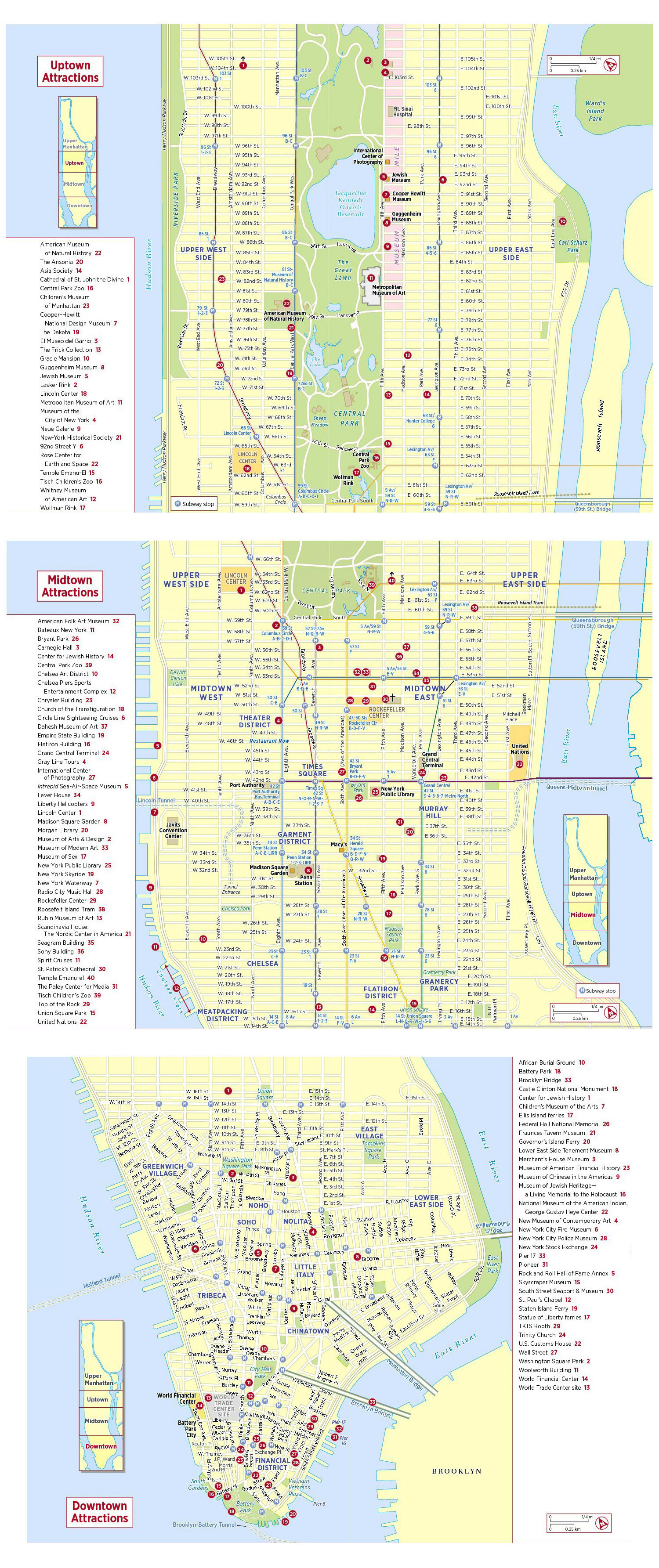 Large tourist attractions map of New York city New York city NY – Tourist Attractions Map In New York City