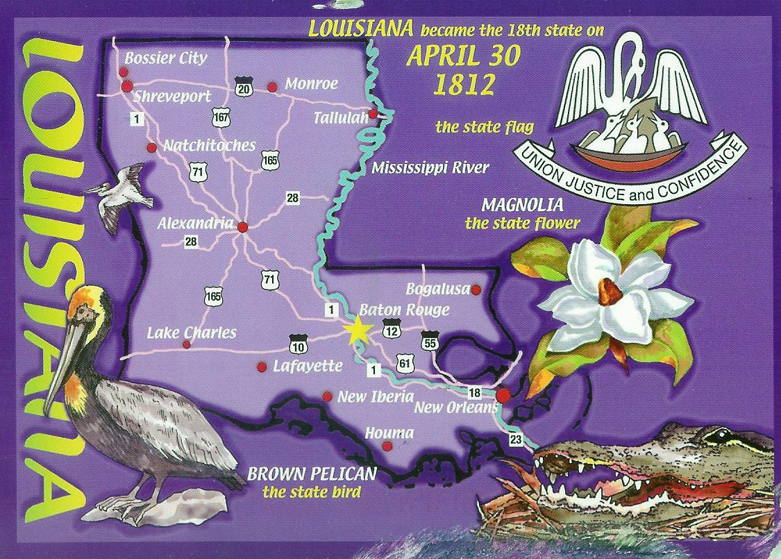 Detailed tourist illustrated map of Louisiana state