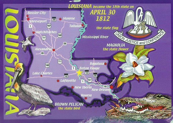 Detailed tourist illustrated map of Louisiana state.