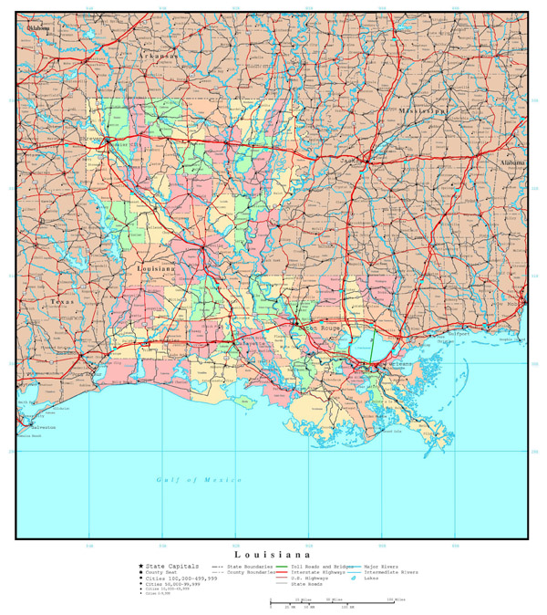Large detailed administrative map of Louisiana state with highways and cities.
