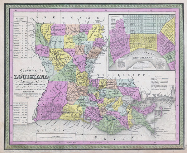 Large detailed old administrative map of Louisiana state - 1850.