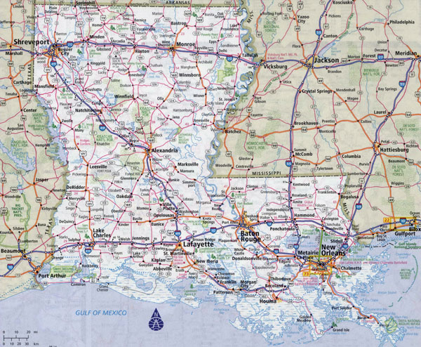 Large detailed roads and highways map of Louisiana state with all cities.