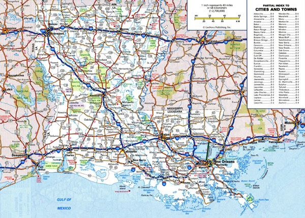 Large detailed roads and highways map of Louisiana state with national parks and all cities.
