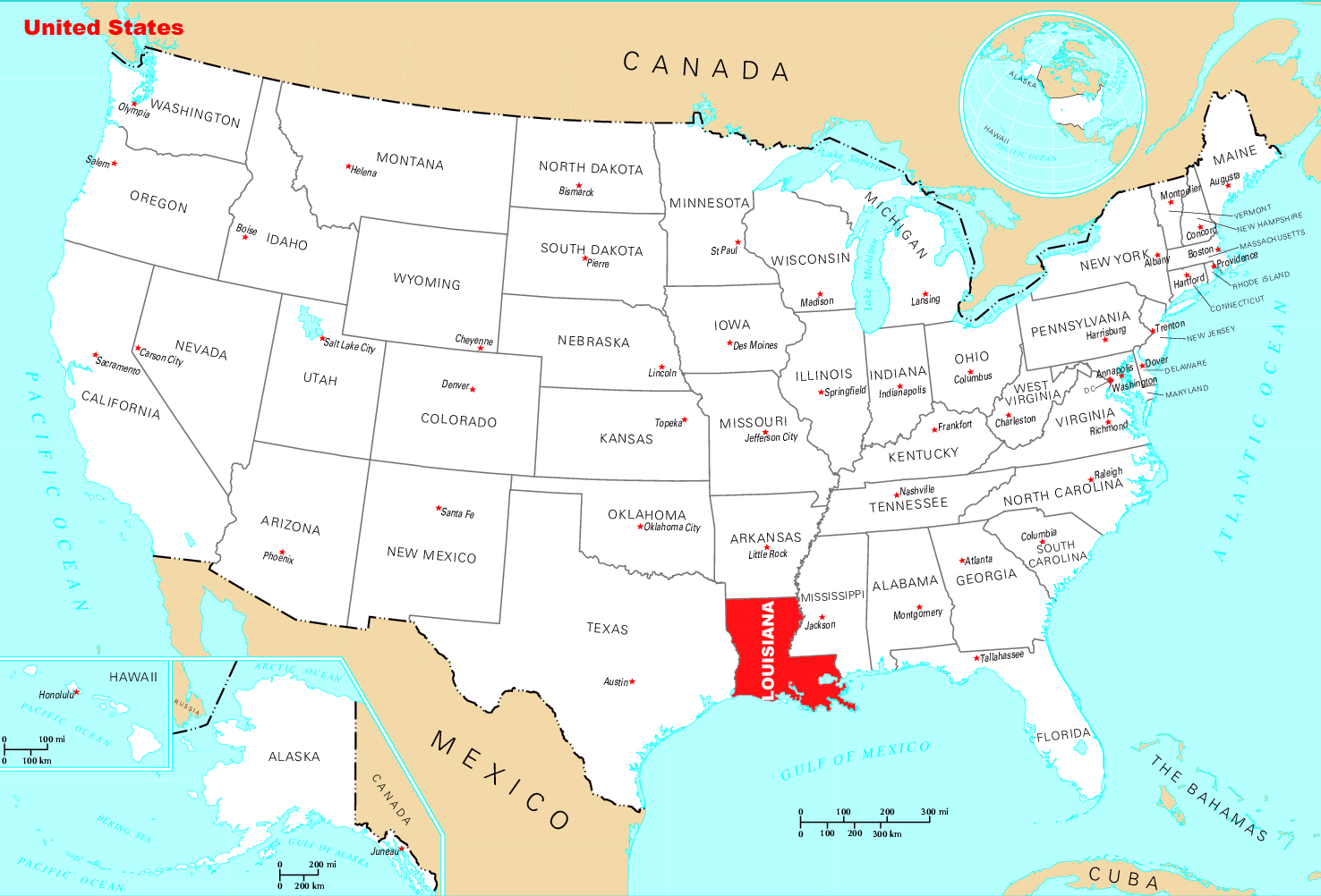Large location map of Louisiana state Louisiana state large