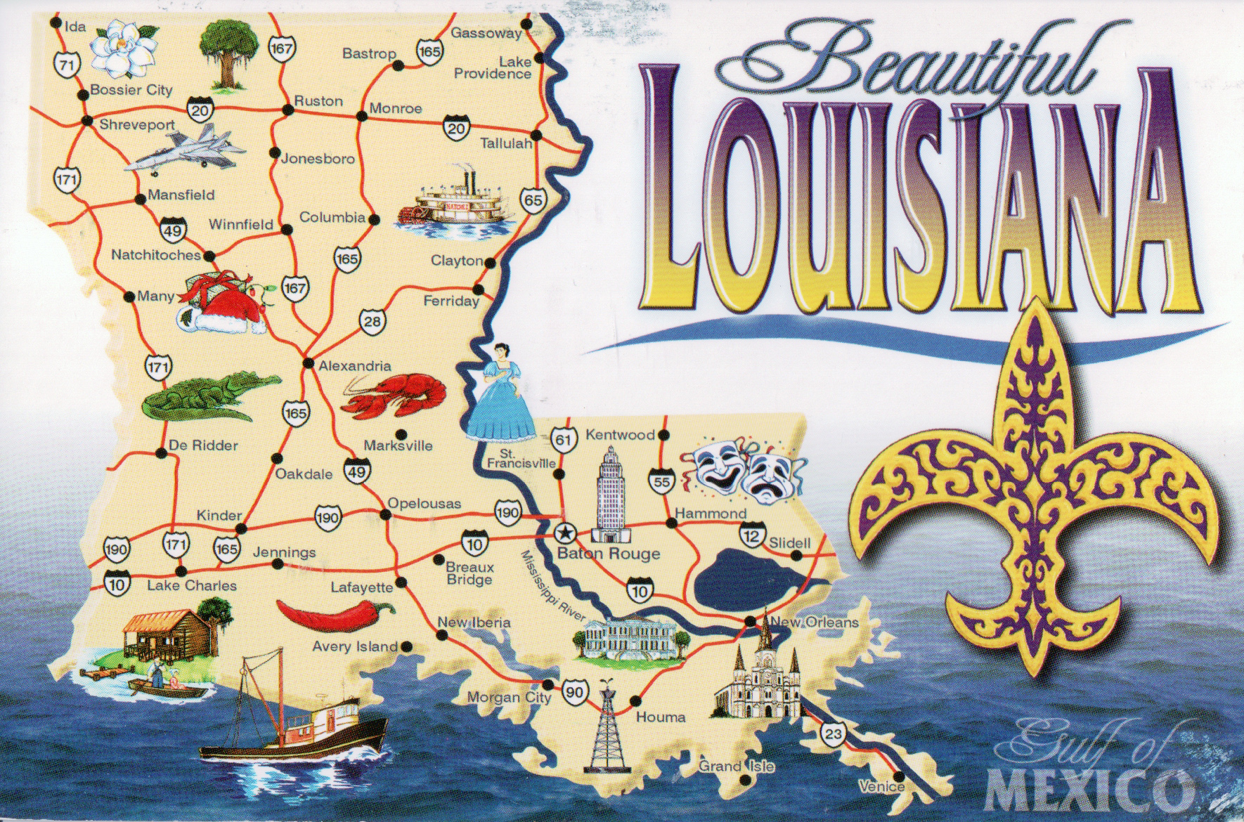 Large Tourist Map Of Louisiana State Louisiana State Large - Lousiana map