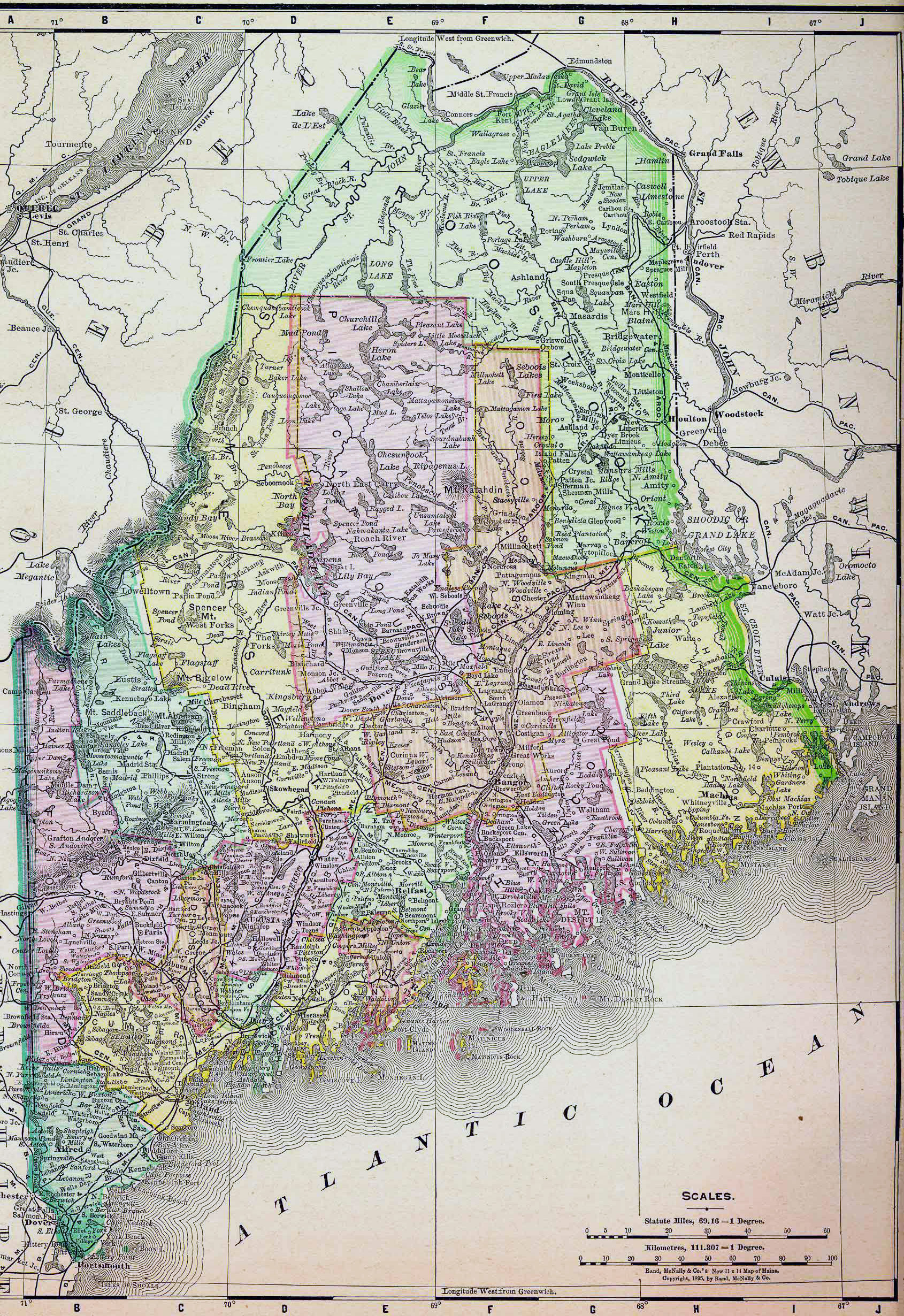 Detailed Old Administrative Map Of Maine State Vidiani - Maine state map