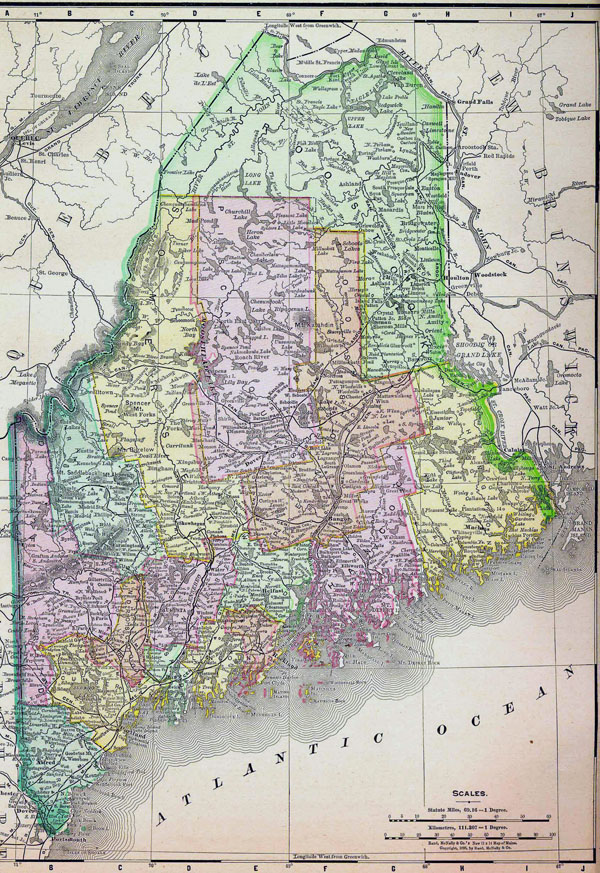 Detailed old administrative map of Maine state - 1895.