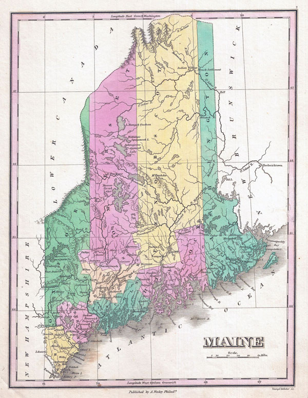 Large detailed old administrative map of Maine state - 1827.
