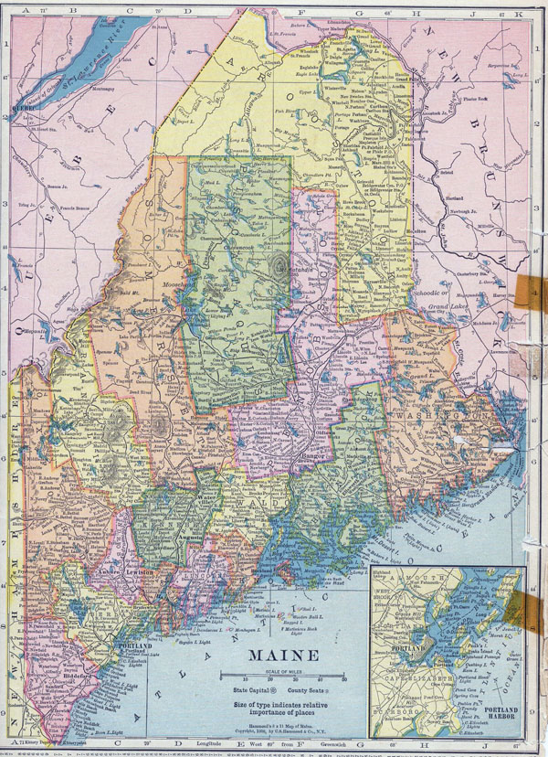 Large detailed old administrative map of Maine state - 1910.