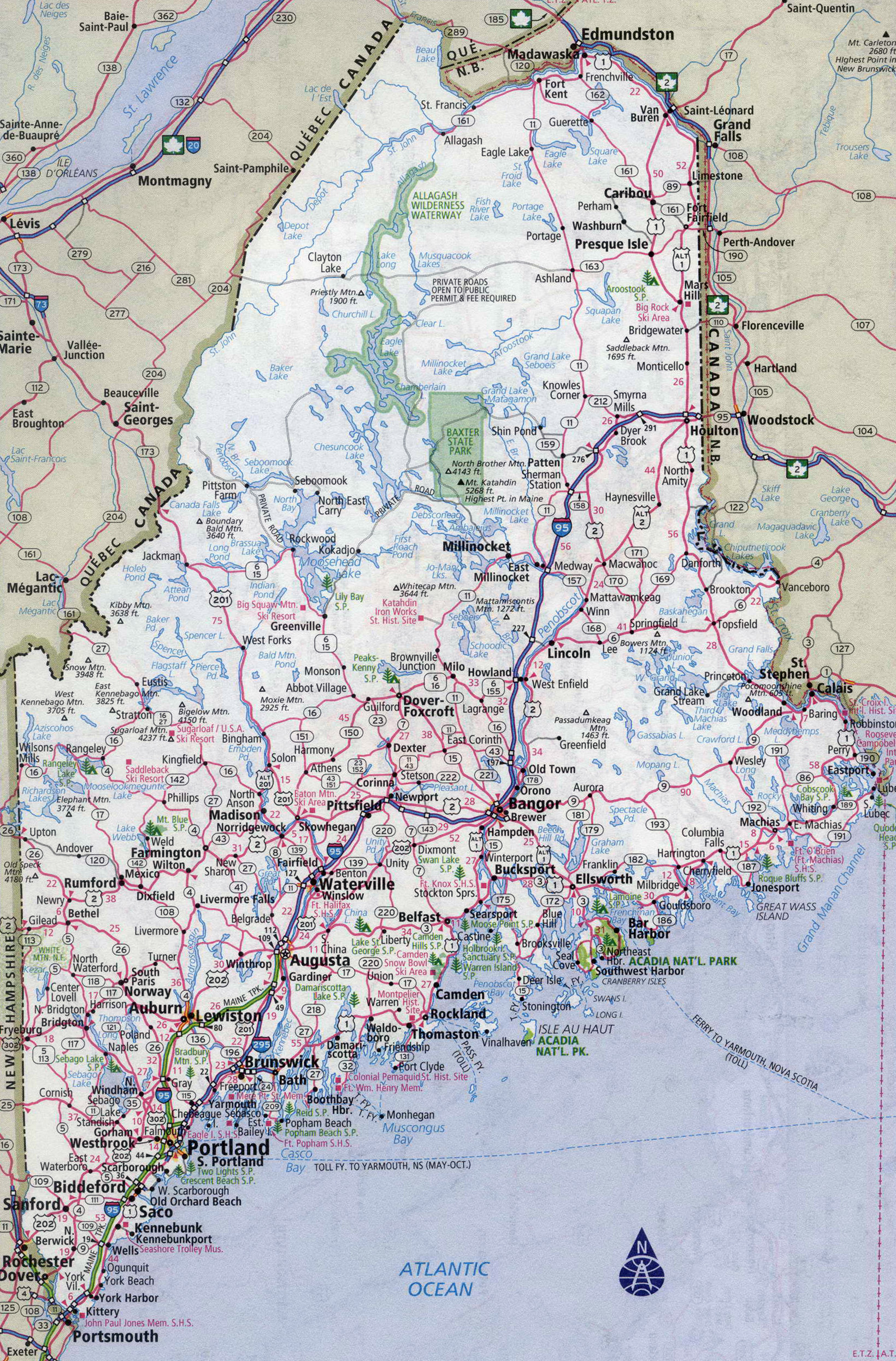 Large Detailed Roads And Highways Map Of Maine State With All - Maine state map