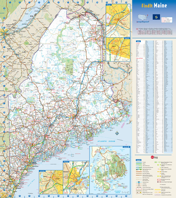 Large detailed roads and highways map of Maine state with national parks and all cities.