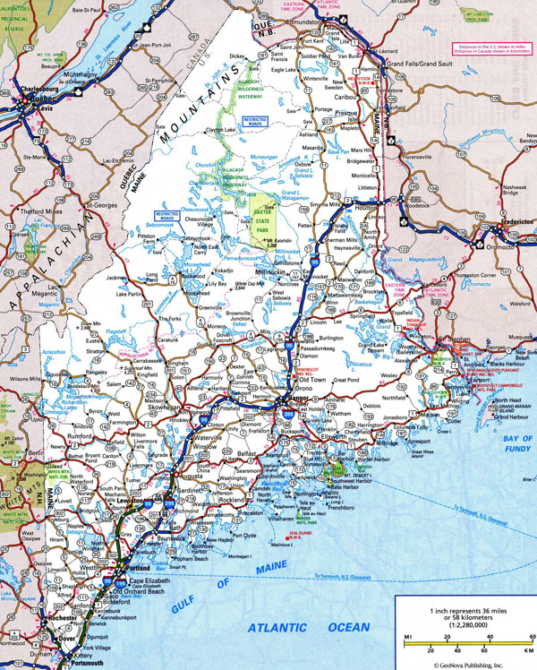 Large detailed roads and highways map of Maine with all cities.