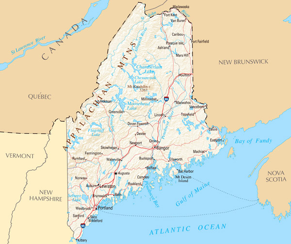 Large map of Maine state with relief, highways and major cities.