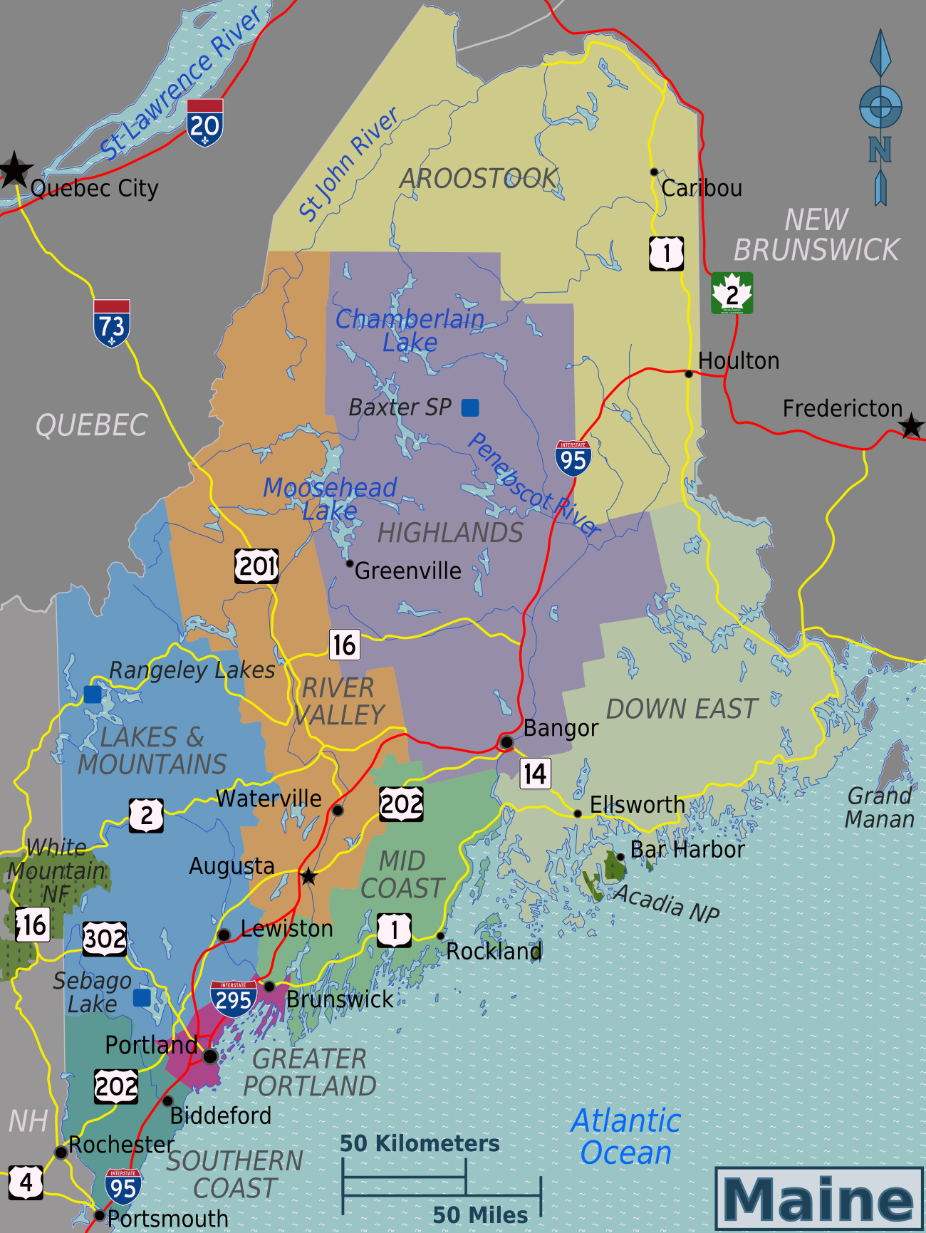 Large regions map of Maine state Maine state large regions map