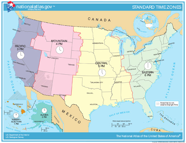 Map of time zones of the United States.