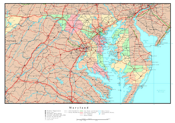 Large detailed administrative map of Maryland with highways, roads and cities.