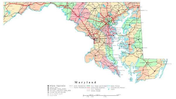Large detailed administrative map of Maryland with roads and cities.
