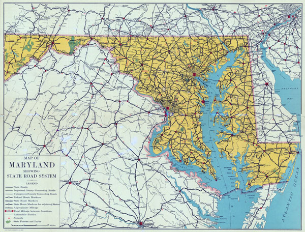 Large detailed road sysytem map of Maryland state - 1937.