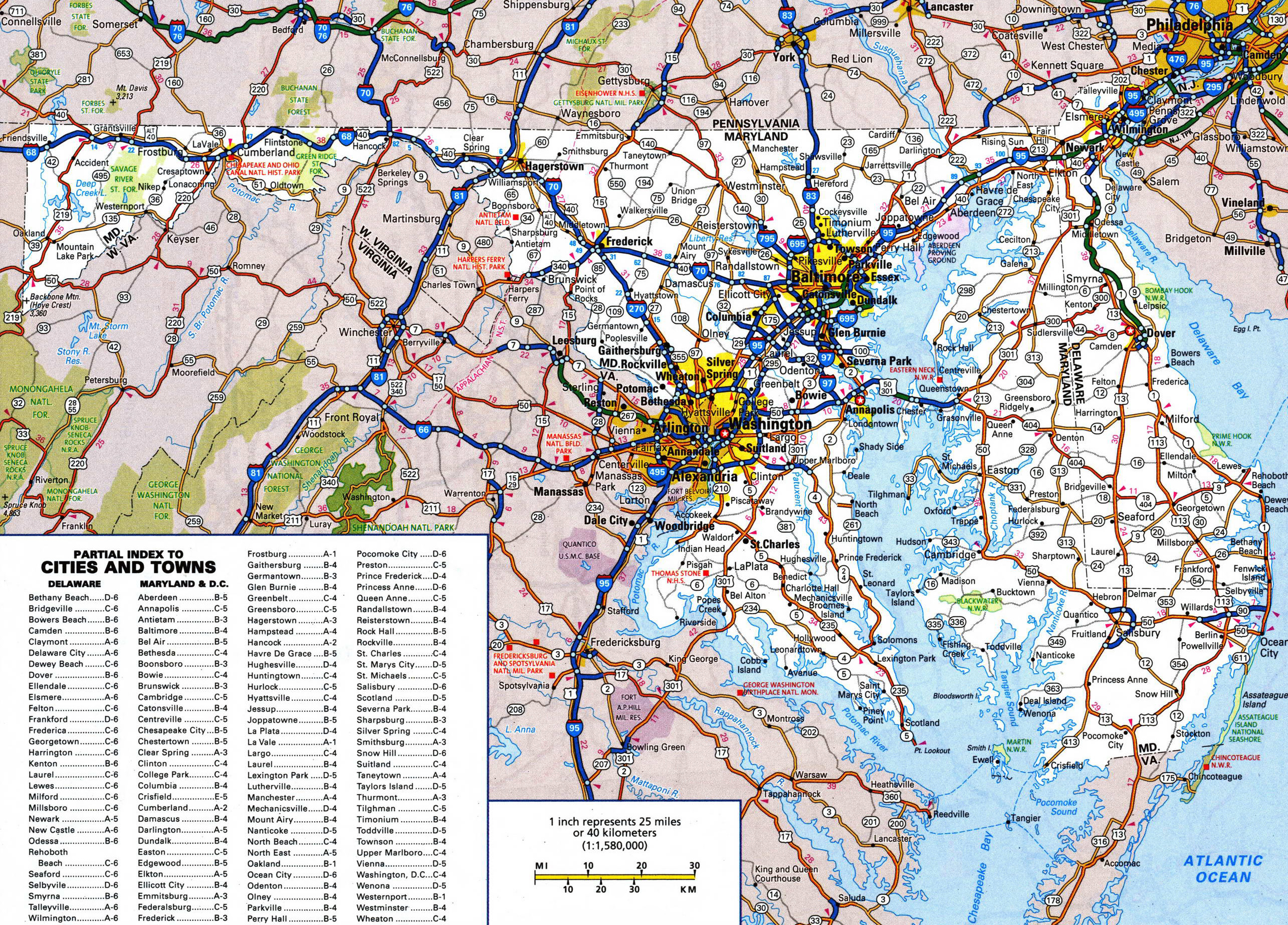 Large detailed roads and highways map of Maryland and Delaware ...