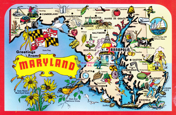 Large detailed tourist illustrated map of Maryland state.