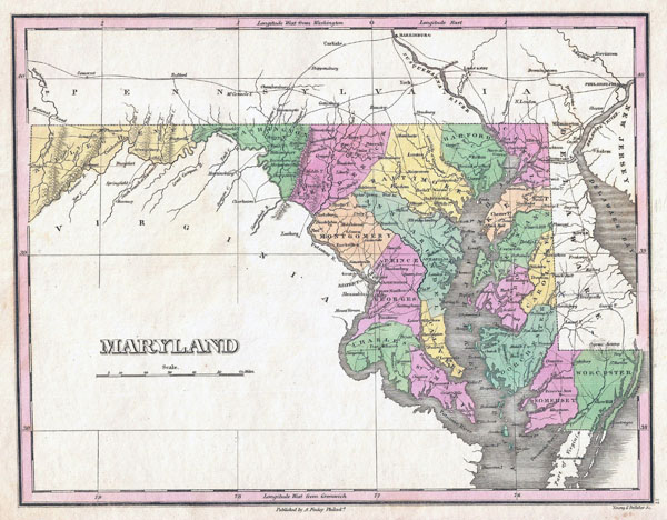Large old administrative map of Maryland state - 1827.