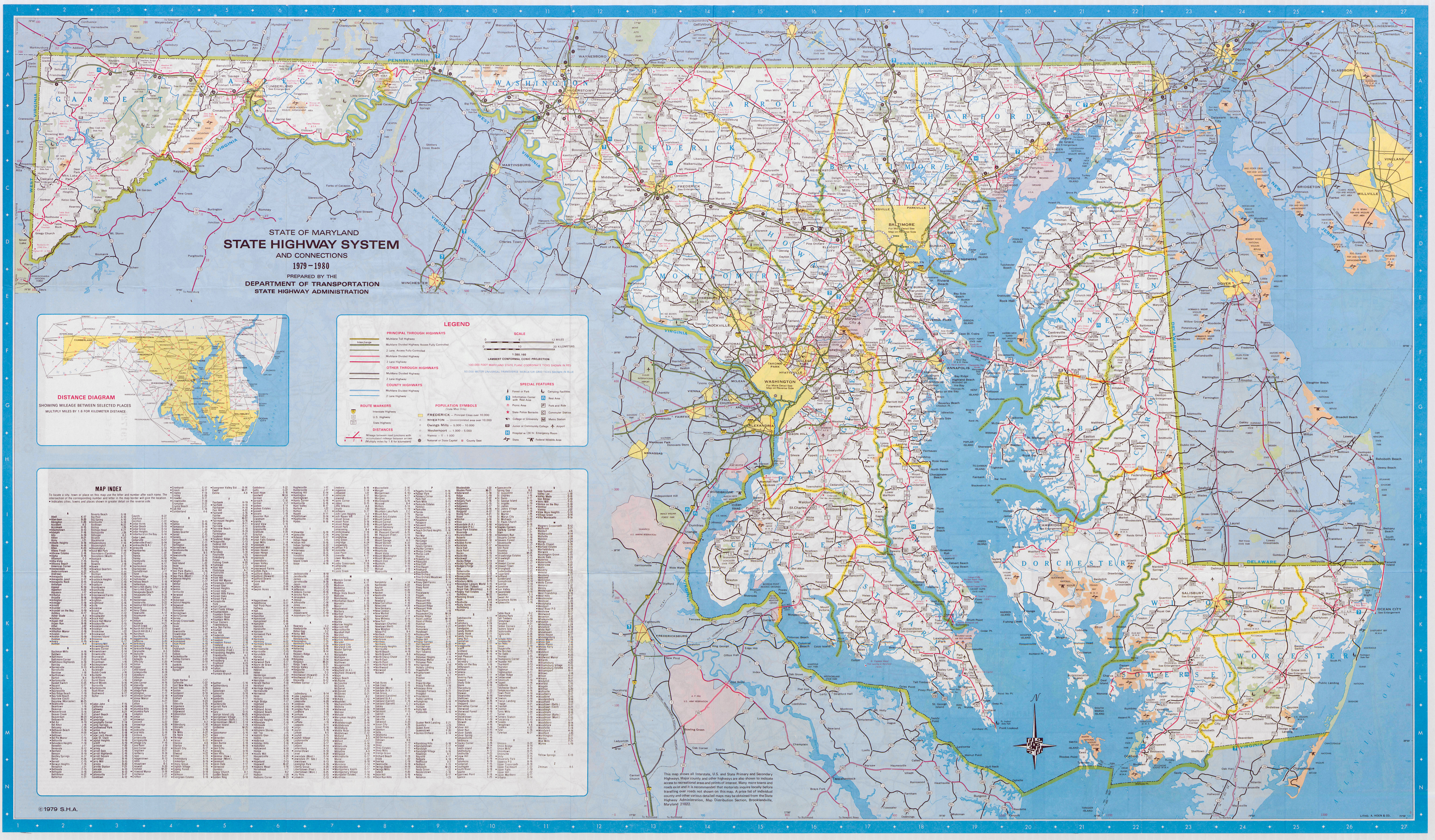 Large Scale Detailed Highway Map Of Maryland State  1980