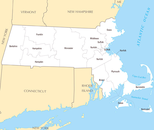 Large detailed administrative map of Massachusetts state.