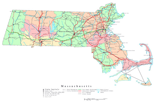 Large detailed administrative map of Massachusetts state with roads, highways and cities.