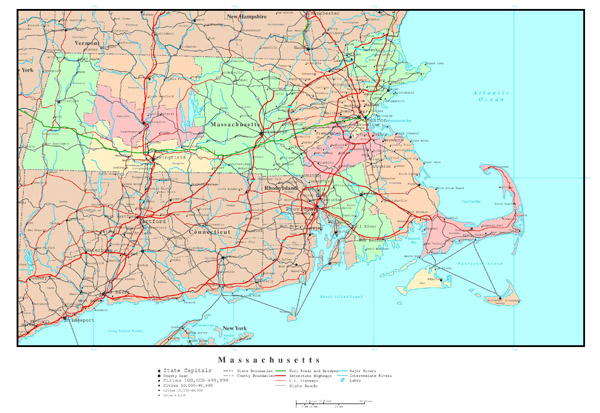Large detailed administrative map of Massachusetts state with roads, highways and major cities.