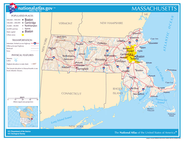 Large detailed map of Massachusetts state. Massachusetts state large detailed map.