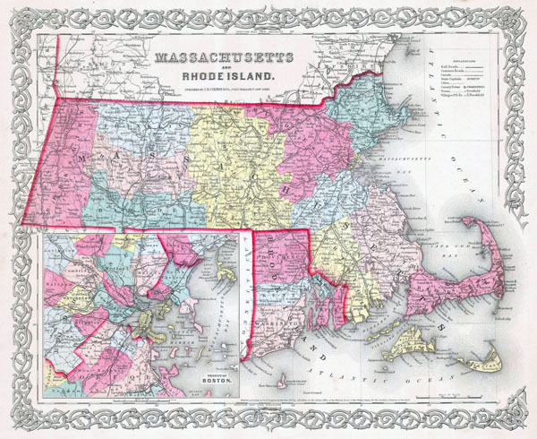 Large detailed old administrative map of Massachusetts and Rhode Island states with roads and cities - 1855.