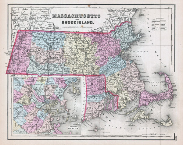 Large detailed old administrative map of Massachusetts and Rhode Island with roads and cities - 1857.