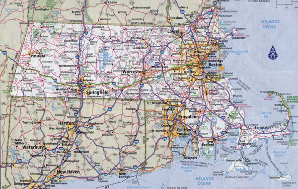 Large detailed roads and highways map of Massachusetts state with all cities.