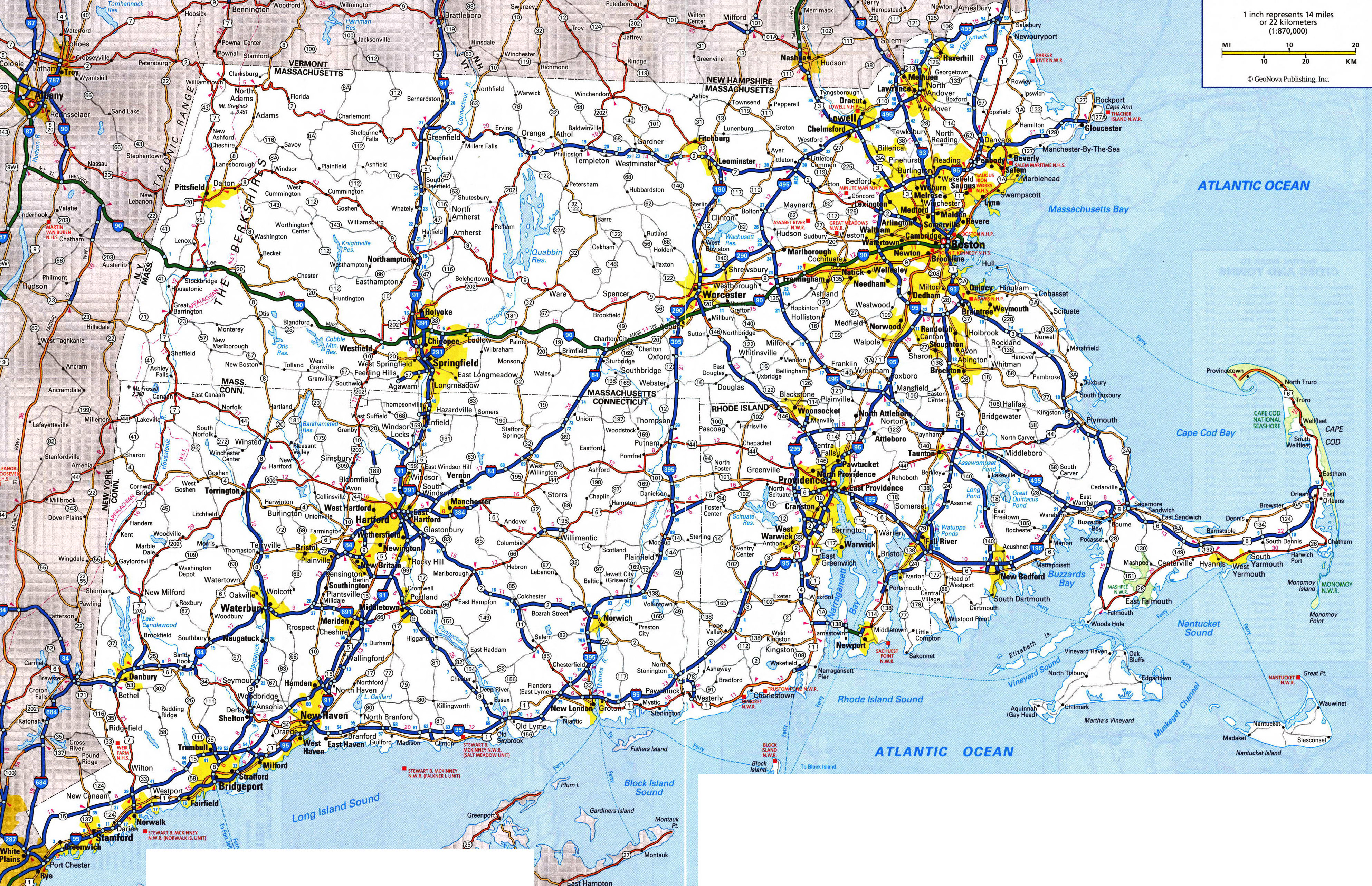 Large detailed roads and highways map of Massachusetts state ...