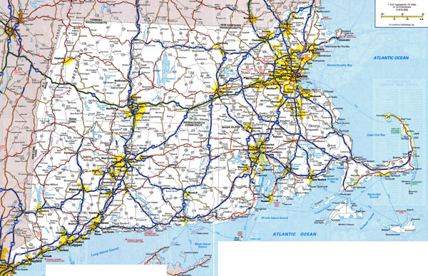 Large detailed roads and highways map of Massachusetts state with all cities and villages.