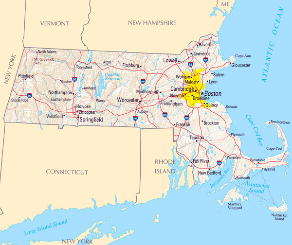 Large map of Massachusetts state with relief, highways and major cities.