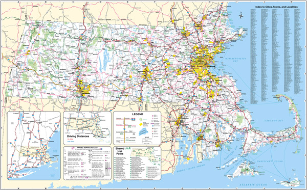 Large scale detailed roads and highways map of Massachusetts state with all cities, airports and national parks.