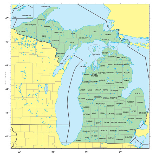 Detailed administrative map of Michigan state.