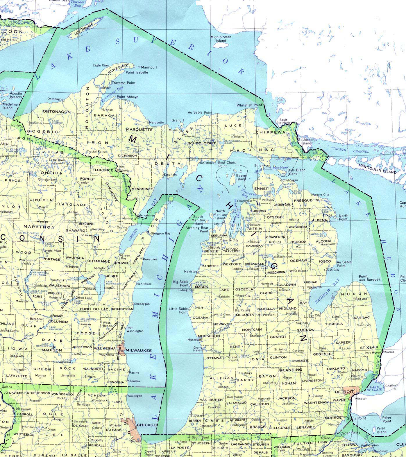 Detailed map of Michigan state Michigan state detailed map