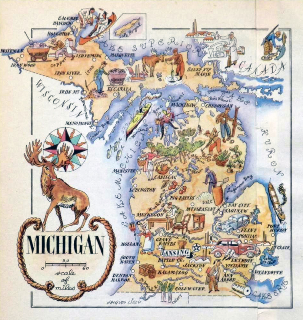 Detailed old tourist illustrated map of Michigan state 1946 – Michigan Travel Map