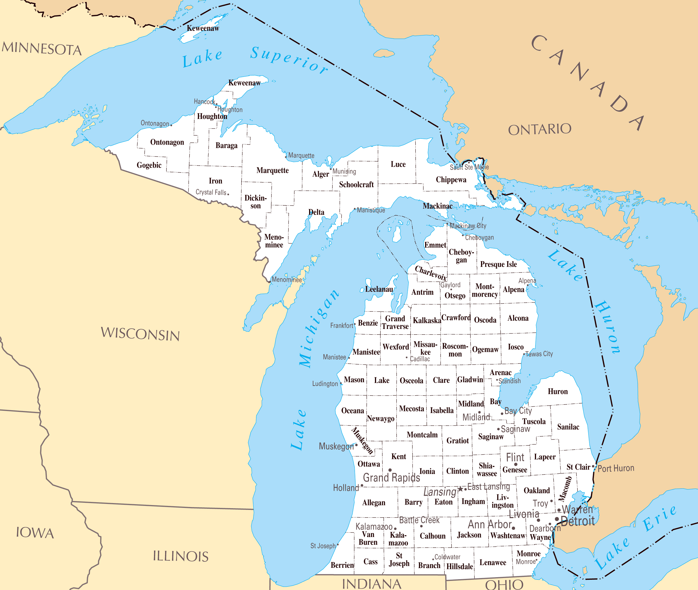 The State Of Michigan Map.Large Administrative Map Of Michigan State Michigan State Large