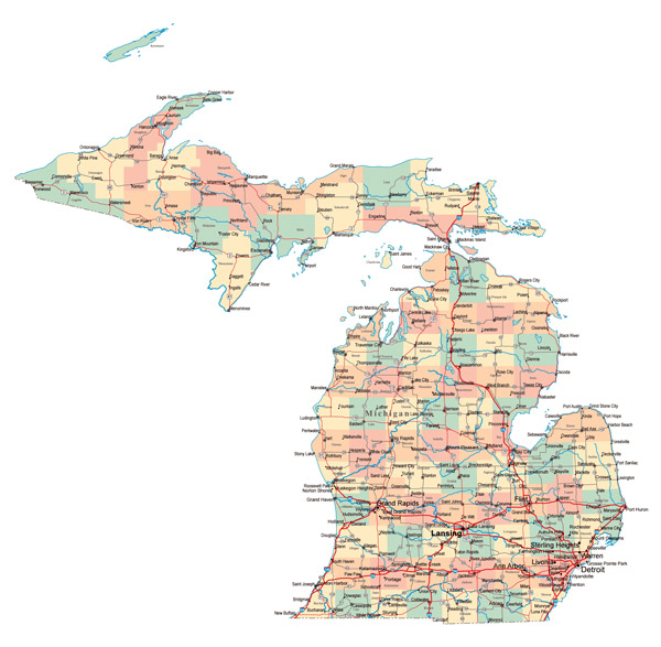 Large administrative map of Michigan state with highways and major cities.