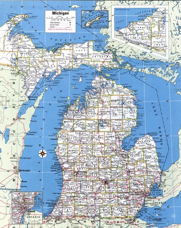 Large detailed administrative map of Michigan state with roads and cities.