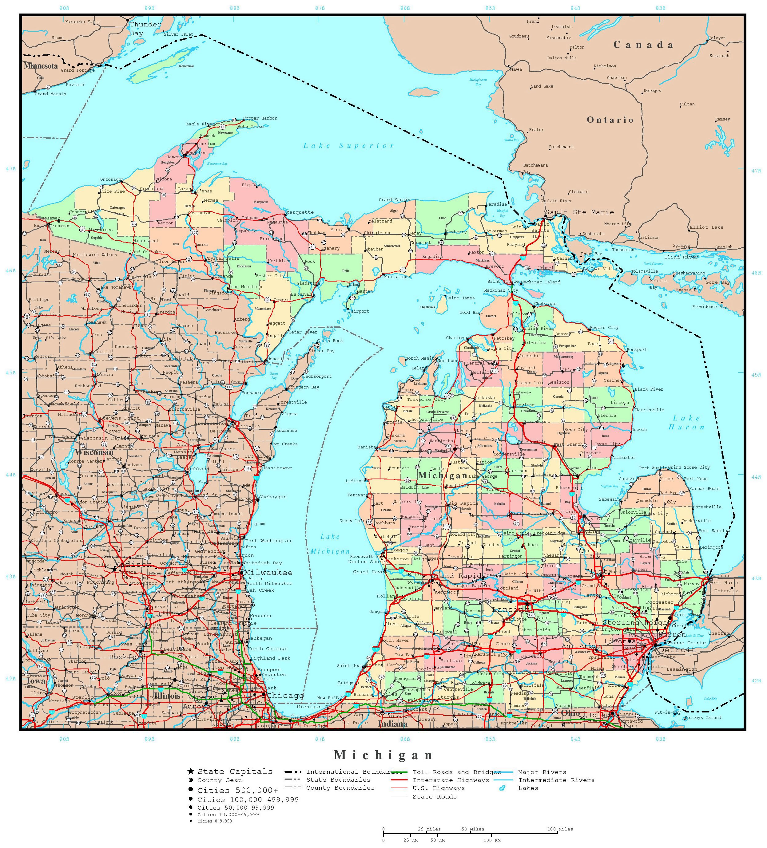 Large detailed administrative map of Michigan state with roads ...