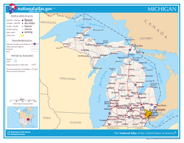 Large detailed map of Michigan state. Michigan state large detailed map.