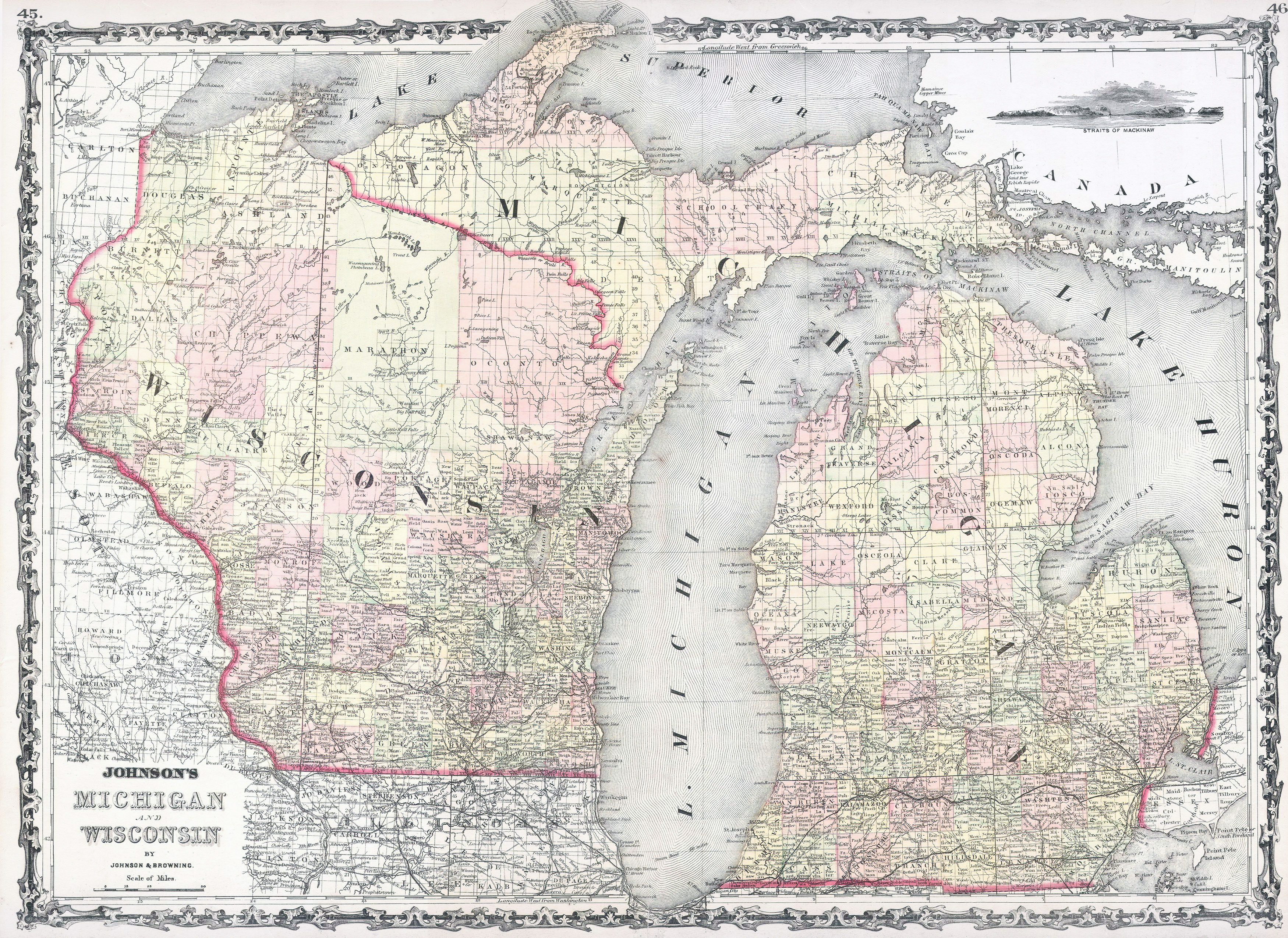 Detailed Michigan Map.Large Detailed Old Administrative Map Of Michigan And Wisconsin