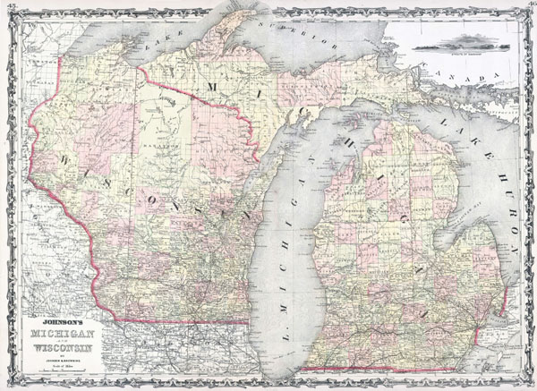 Large detailed old administrative map of Michigan and Wisconsin states.